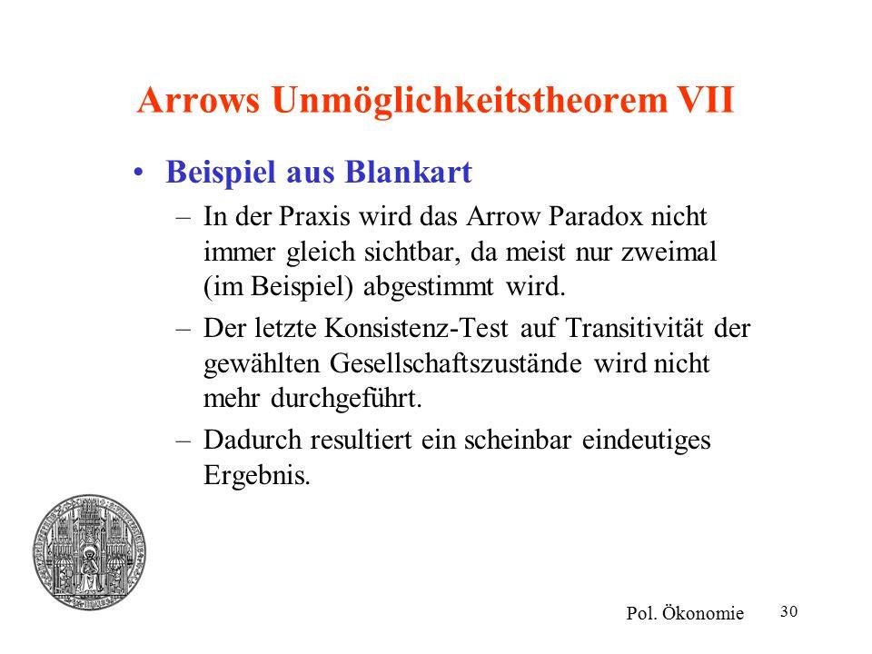 30 Arrows Unmöglichkeitstheorem VII Beispiel aus Blankart –In der Praxis wird das Arrow Paradox nicht immer gleich sichtbar, da meist nur zweimal (im Beispiel) abgestimmt wird.