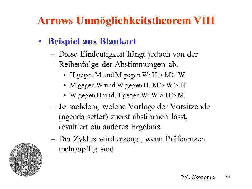 31 Arrows Unmöglichkeitstheorem VIII Beispiel aus Blankart –Diese Eindeutigkeit hängt jedoch von der Reihenfolge der Abstimmungen ab. H gegen M und M