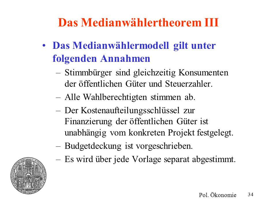 34 Das Medianwählertheorem III Das Medianwählermodell gilt unter folgenden Annahmen –Stimmbürger sind gleichzeitig Konsumenten der öffentlichen Güter und Steuerzahler.