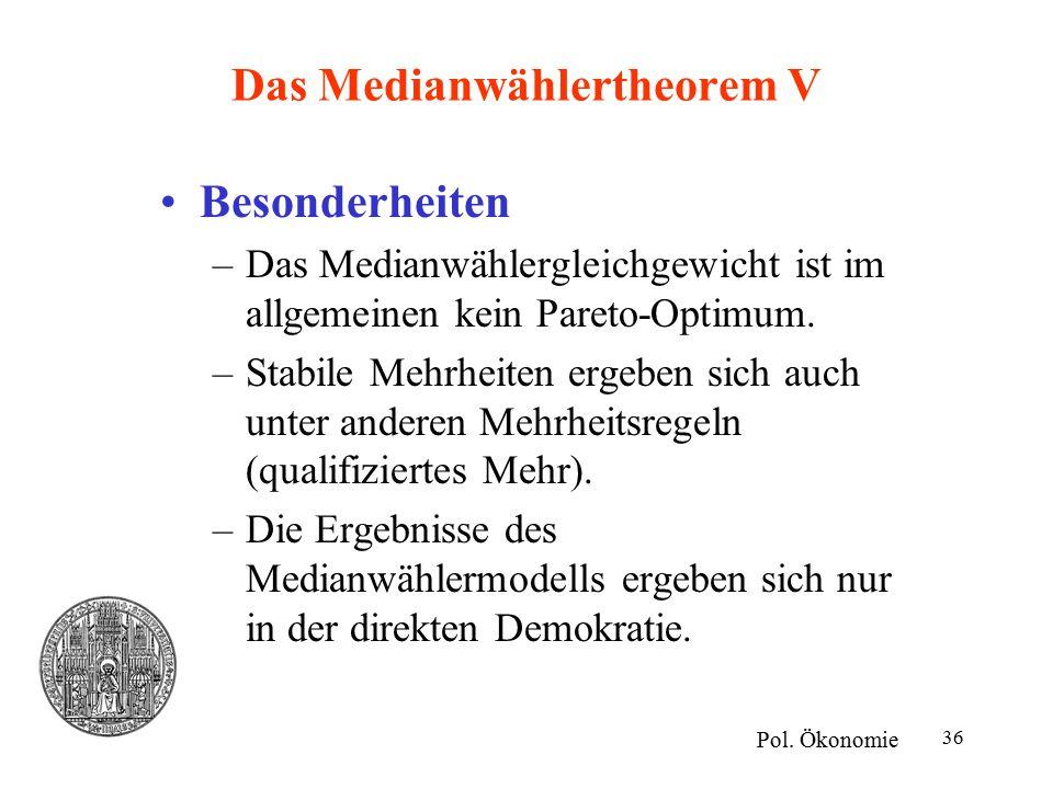 36 Das Medianwählertheorem V Besonderheiten –Das Medianwählergleichgewicht ist im allgemeinen kein Pareto-Optimum. –Stabile Mehrheiten ergeben sich au