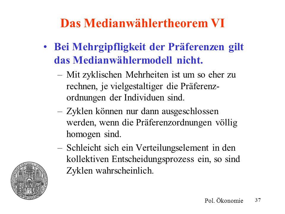 37 Das Medianwählertheorem VI Bei Mehrgipfligkeit der Präferenzen gilt das Medianwählermodell nicht. –Mit zyklischen Mehrheiten ist um so eher zu rech