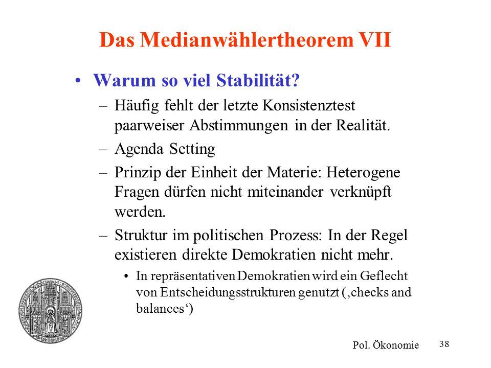 38 Das Medianwählertheorem VII Warum so viel Stabilität? –Häufig fehlt der letzte Konsistenztest paarweiser Abstimmungen in der Realität. –Agenda Sett