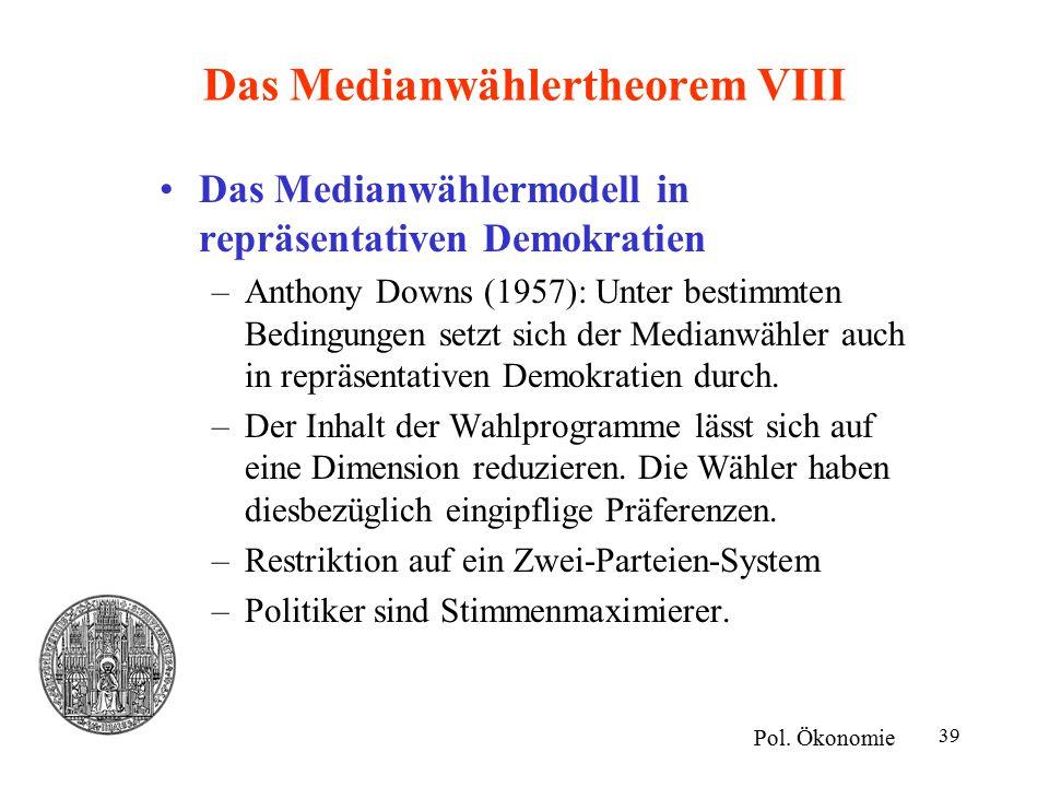 39 Das Medianwählertheorem VIII Das Medianwählermodell in repräsentativen Demokratien –Anthony Downs (1957): Unter bestimmten Bedingungen setzt sich der Medianwähler auch in repräsentativen Demokratien durch.
