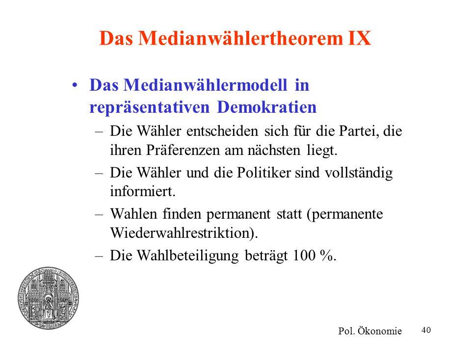40 Das Medianwählertheorem IX Das Medianwählermodell in repräsentativen Demokratien –Die Wähler entscheiden sich für die Partei, die ihren Präferenzen am nächsten liegt.