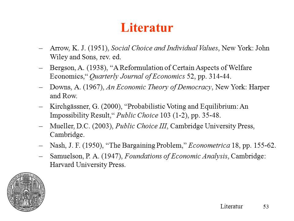 53 Literatur –Arrow, K.J.