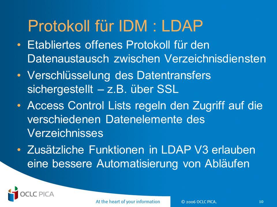 10 Protokoll für IDM : LDAP Etabliertes offenes Protokoll für den Datenaustausch zwischen Verzeichnisdiensten Verschlüsselung des Datentransfers siche
