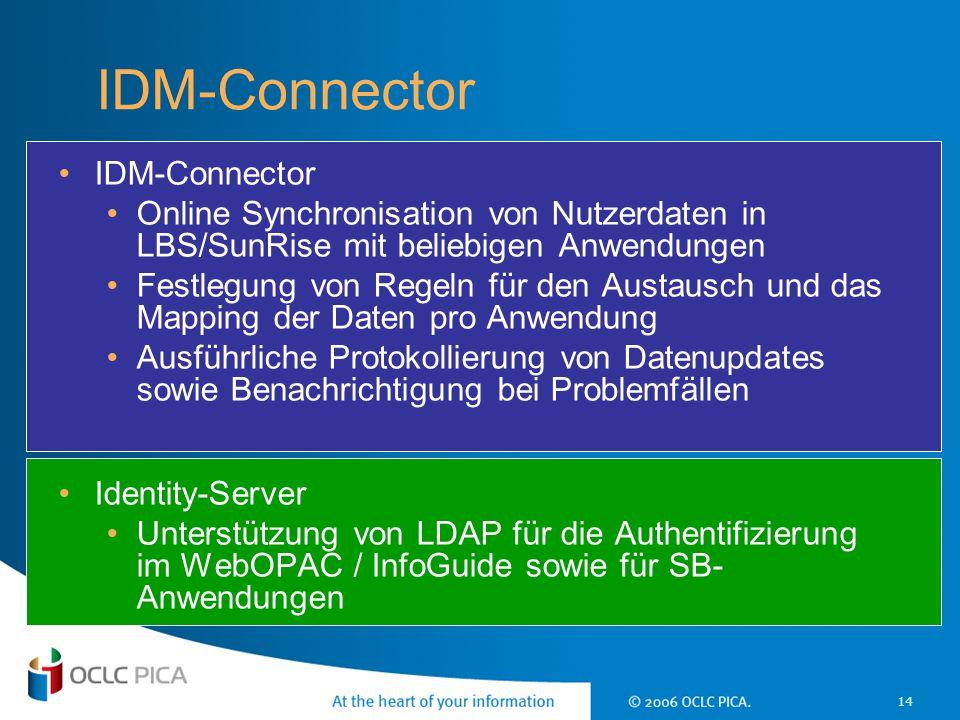 14 IDM-Connector Online Synchronisation von Nutzerdaten in LBS/SunRise mit beliebigen Anwendungen Festlegung von Regeln für den Austausch und das Mapp