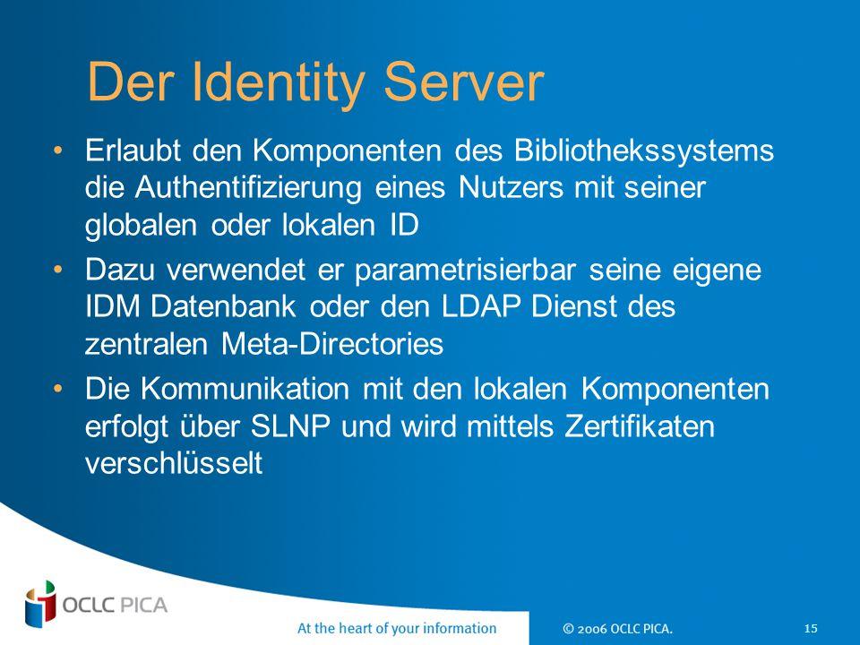 15 Der Identity Server Erlaubt den Komponenten des Bibliothekssystems die Authentifizierung eines Nutzers mit seiner globalen oder lokalen ID Dazu ver