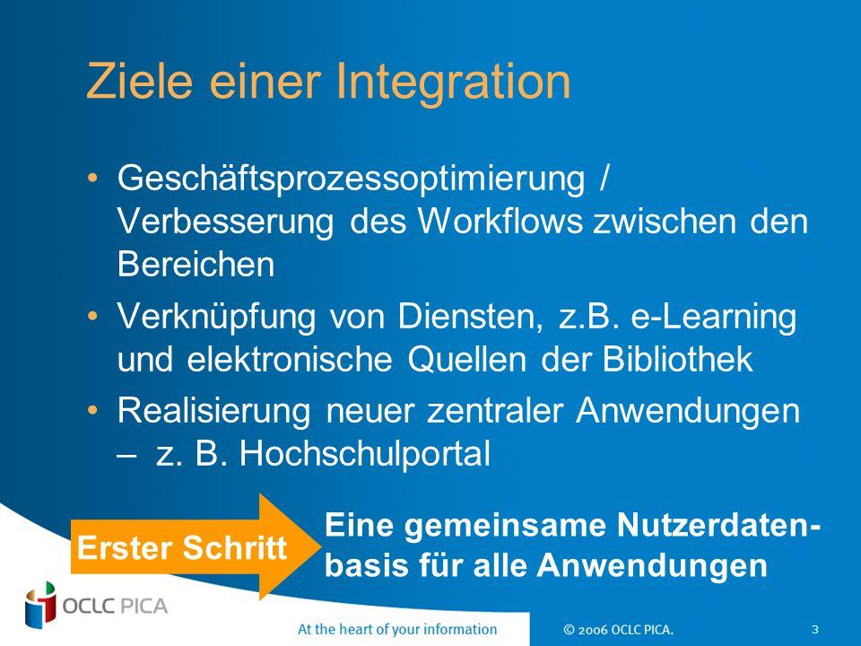 3 Ziele einer Integration Geschäftsprozessoptimierung / Verbesserung des Workflows zwischen den Bereichen Verknüpfung von Diensten, z.B. e-Learning un