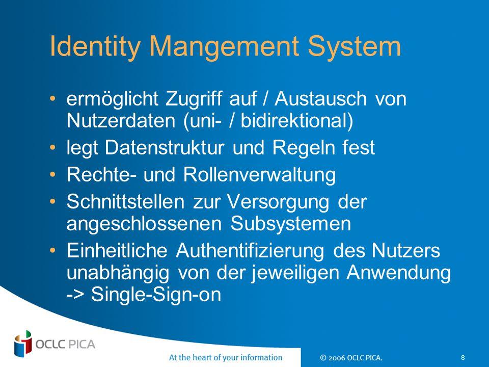 8 Identity Mangement System ermöglicht Zugriff auf / Austausch von Nutzerdaten (uni- / bidirektional) legt Datenstruktur und Regeln fest Rechte- und R