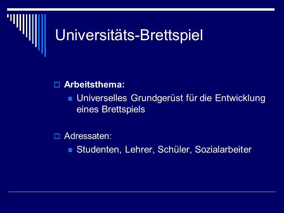 Universitäts-Brettspiel  Arbeitsthema: Universelles Grundgerüst für die Entwicklung eines Brettspiels  Adressaten: Studenten, Lehrer, Schüler, Sozialarbeiter