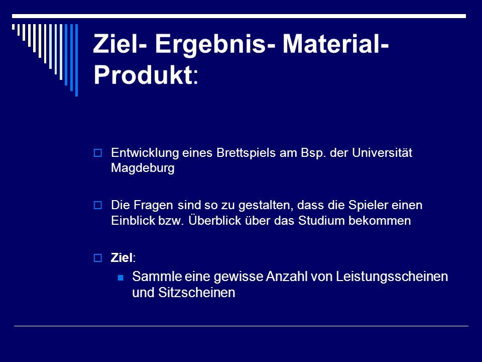 Ziel- Ergebnis- Material- Produkt:  Entwicklung eines Brettspiels am Bsp.