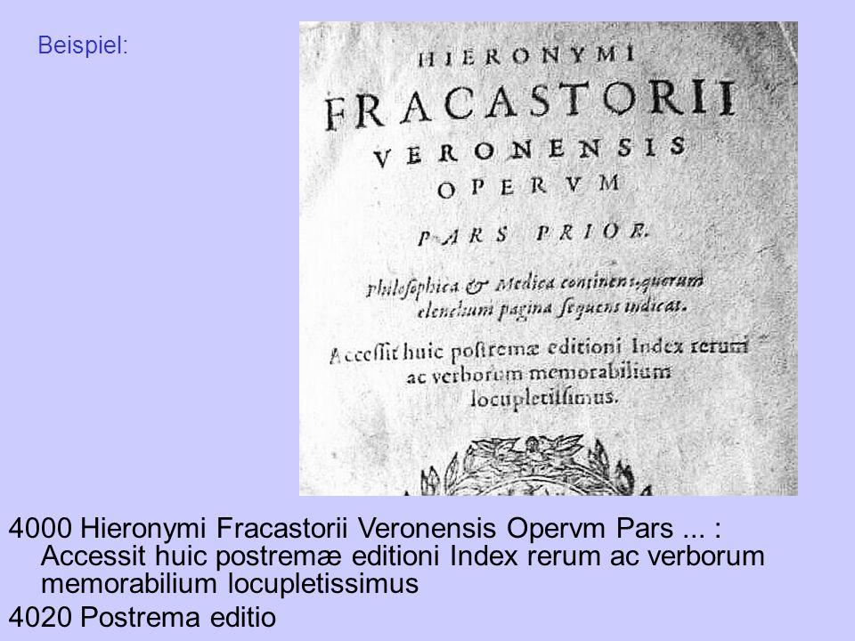 4000 Hieronymi Fracastorii Veronensis Opervm Pars... : Accessit huic postremæ editioni Index rerum ac verborum memorabilium locupletissimus 4020 Postr