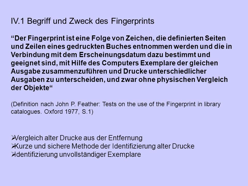 """IV.1 Begriff und Zweck des Fingerprints """"Der Fingerprint ist eine Folge von Zeichen, die definierten Seiten und Zeilen eines gedruckten Buches entnomm"""