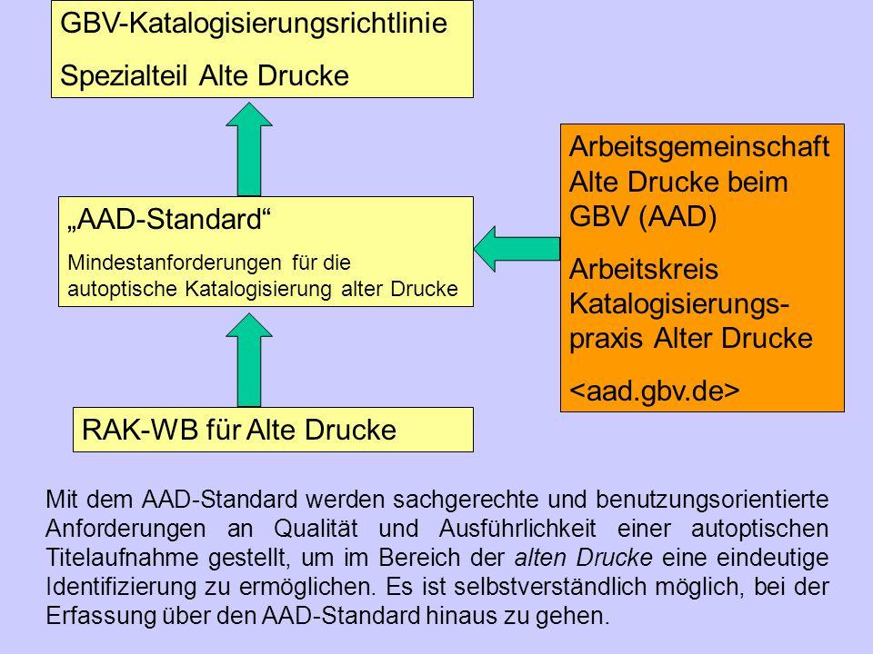 """GBV-Katalogisierungsrichtlinie Spezialteil Alte Drucke """"AAD-Standard"""" Mindestanforderungen für die autoptische Katalogisierung alter Drucke RAK-WB für"""