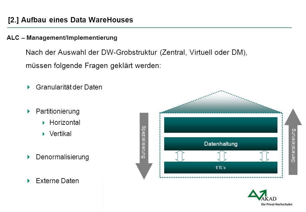 [2.] Aufbau eines Data WareHouses ALC – Management/Implementierung Nach der Auswahl der DW-Grobstruktur (Zentral, Virtuell oder DM), müssen folgende F