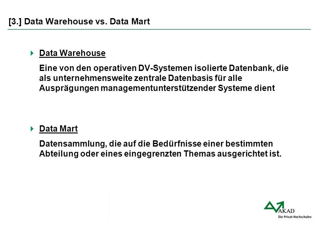  Data Warehouse Eine von den operativen DV-Systemen isolierte Datenbank, die als unternehmensweite zentrale Datenbasis für alle Ausprägungen manageme