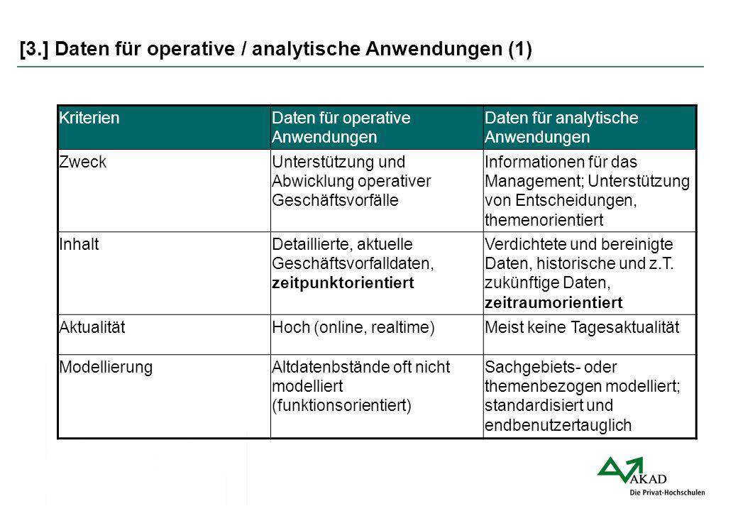 [3.] Daten für operative / analytische Anwendungen (1) KriterienDaten für operative Anwendungen Daten für analytische Anwendungen ZweckUnterstützung u