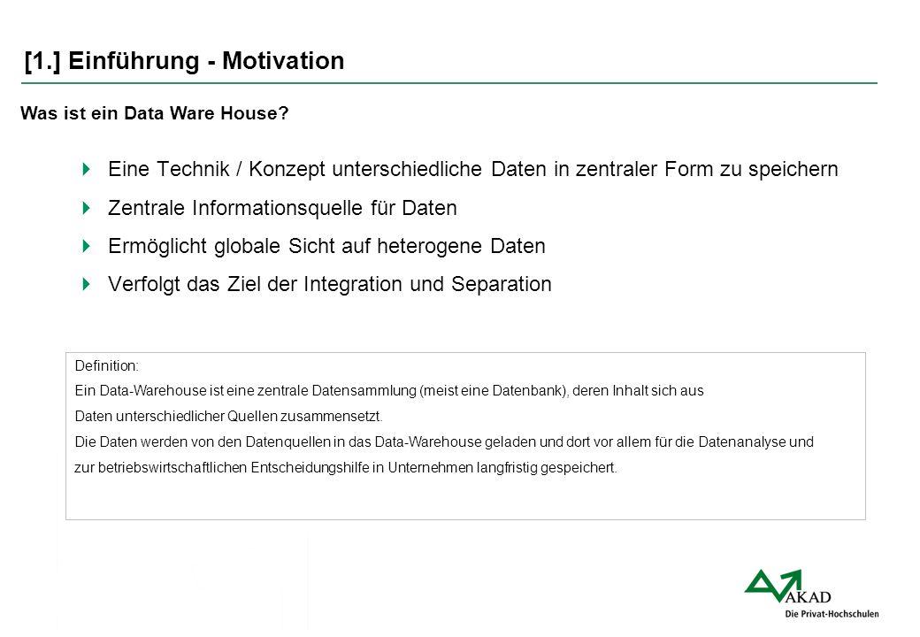 [1.] Einführung - Motivation  Eine Technik / Konzept unterschiedliche Daten in zentraler Form zu speichern  Zentrale Informationsquelle für Daten 