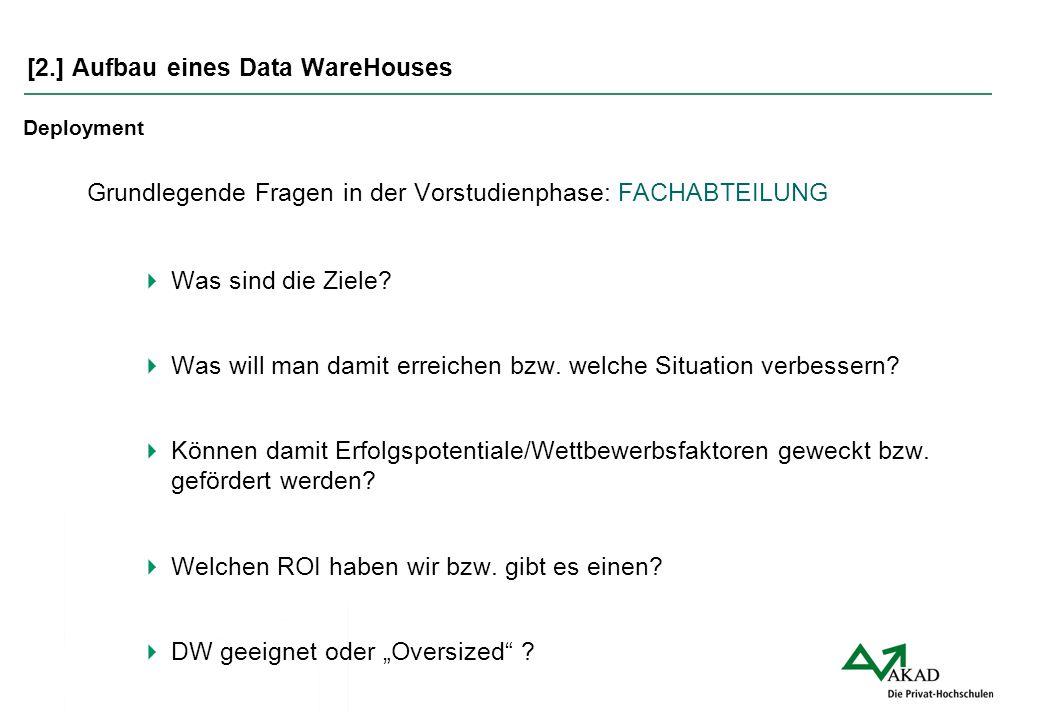 [2.] Aufbau eines Data WareHouses Deployment Grundlegende Fragen in der Vorstudienphase: FACHABTEILUNG  Was sind die Ziele?  Was will man damit erre