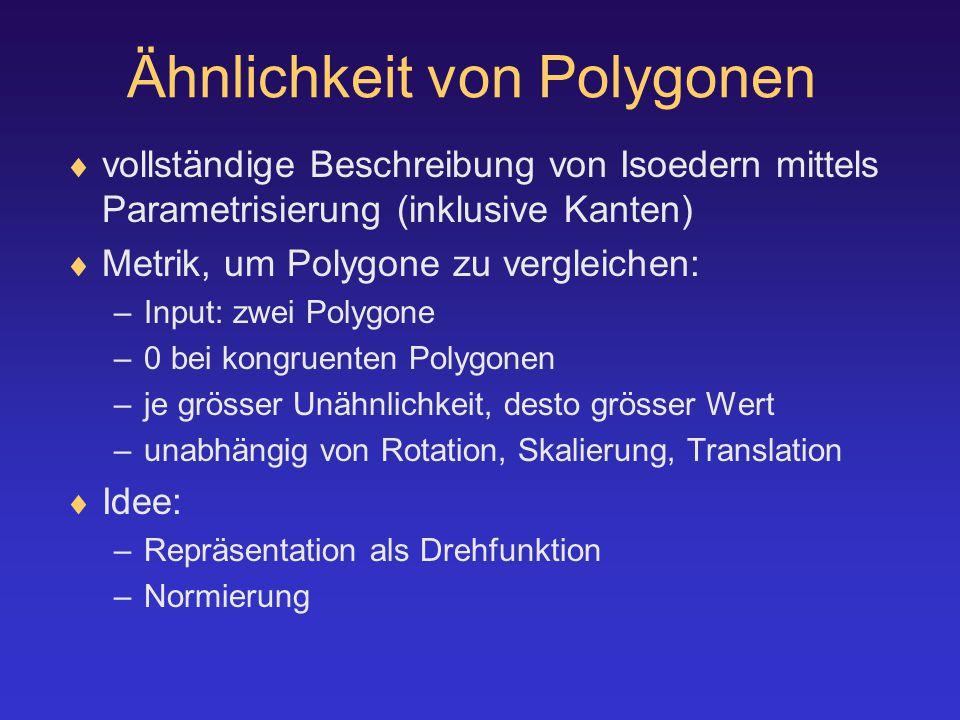 Ähnlichkeit von Polygonen  vollständige Beschreibung von Isoedern mittels Parametrisierung (inklusive Kanten)  Metrik, um Polygone zu vergleichen: –Input: zwei Polygone –0 bei kongruenten Polygonen –je grösser Unähnlichkeit, desto grösser Wert –unabhängig von Rotation, Skalierung, Translation  Idee: –Repräsentation als Drehfunktion –Normierung
