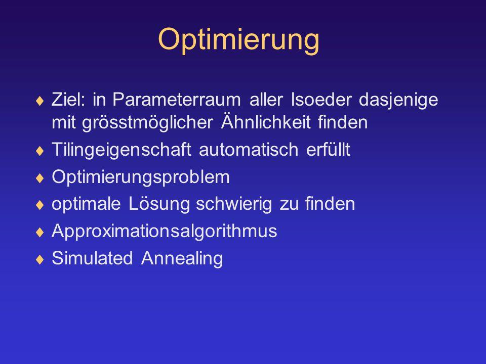 Optimierung  Ziel: in Parameterraum aller Isoeder dasjenige mit grösstmöglicher Ähnlichkeit finden  Tilingeigenschaft automatisch erfüllt  Optimierungsproblem  optimale Lösung schwierig zu finden  Approximationsalgorithmus  Simulated Annealing
