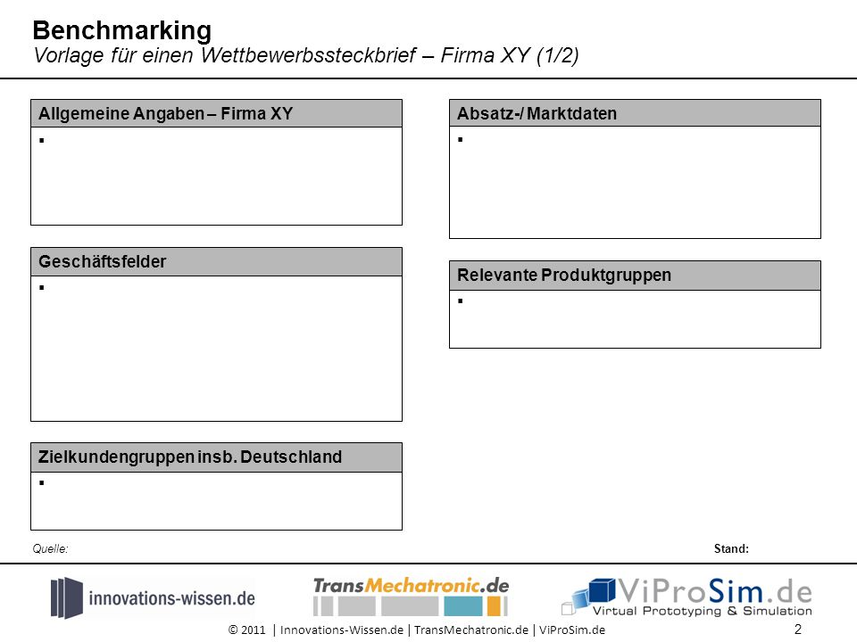 © 2011 | Innovations-Wissen.de | TransMechatronic.de | ViProSim.de Absatz-/ Marktdaten  Zielkundengruppen insb.