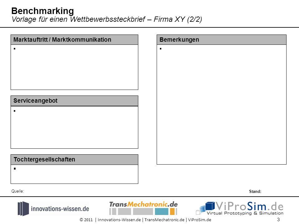 © 2011 | Innovations-Wissen.de | TransMechatronic.de | ViProSim.de  Bemerkungen  Serviceangebot  Marktauftritt / Marktkommunikation  Tochtergesellschaften 3 Stand: Quelle: Benchmarking Vorlage für einen Wettbewerbssteckbrief – Firma XY (2/2)