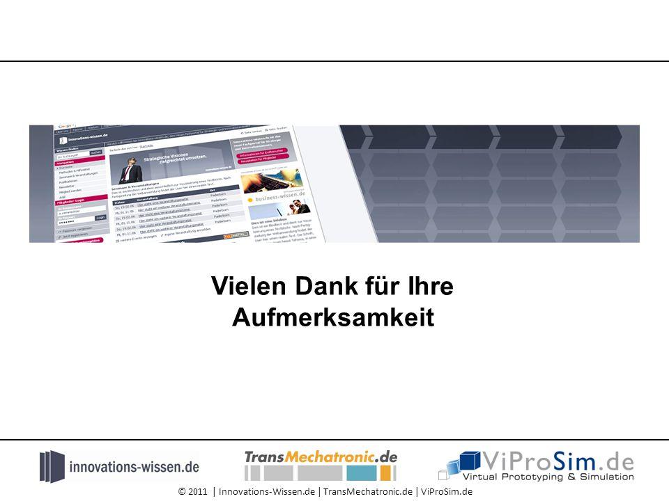 © 2011 | Innovations-Wissen.de | TransMechatronic.de | ViProSim.de Vielen Dank für Ihre Aufmerksamkeit
