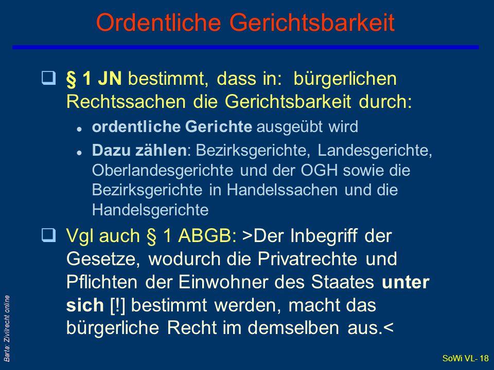 SoWi VL- 17 Barta: Zivilrecht online Gerichtliche Zuständigkeit qRechtsquelle: Jurisdiktionsnorm (JN) 1895 qSachliche Zuständigkeit: l Bezirksgerichte