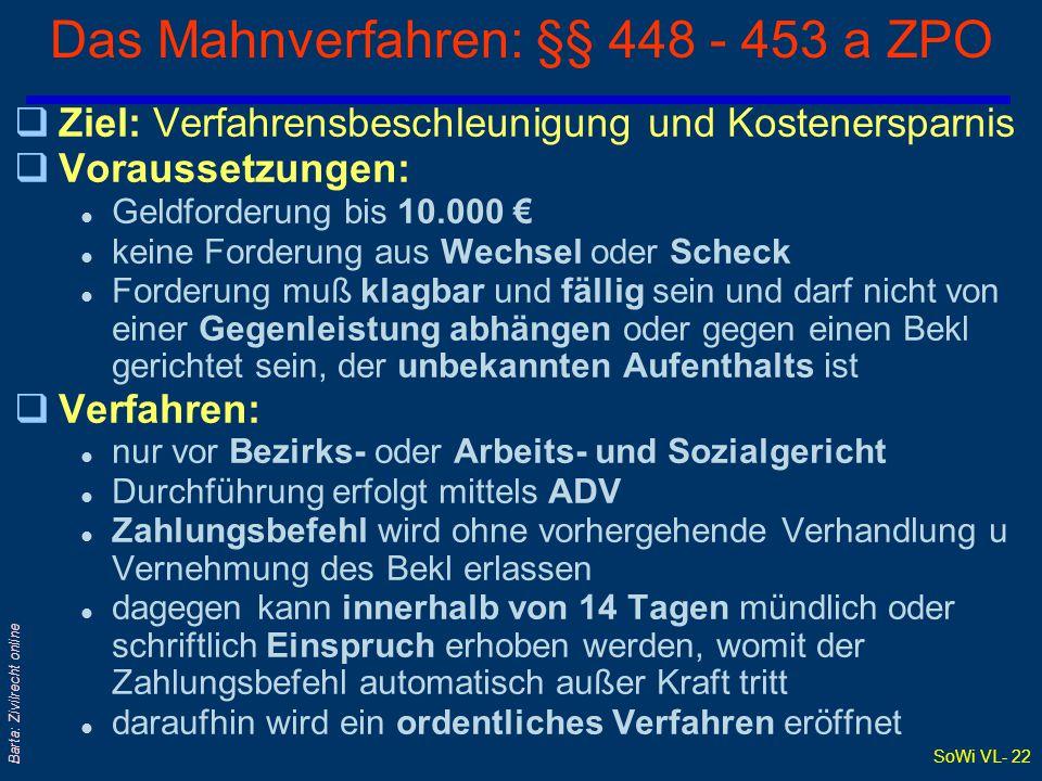 SoWi VL- 21 Barta: Zivilrecht online Zivilprozeß und Besondere Verfahrensarten qZPO von 1895 regelt auch das: l Mahnverfahren: §§ 448 ff (siehe eigene