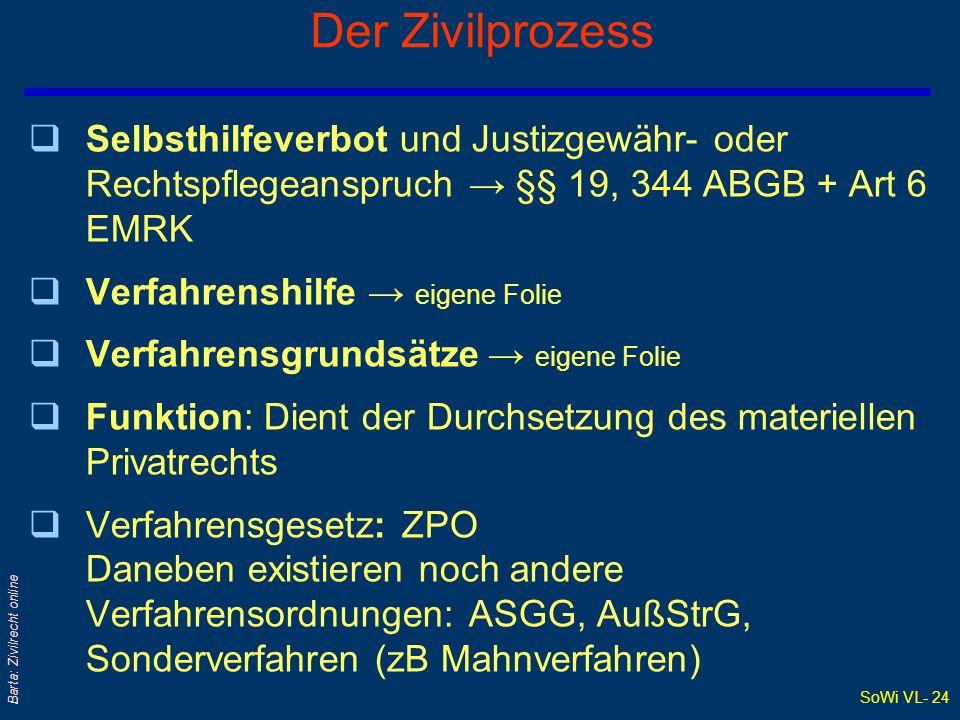 SoWi VL- 23 Barta: Zivilrecht online Verfahrensarten außerhalb des Zivilprozesses qAußerstreitverfahren: AußStrG Weitgehend formloses und ungeregeltes