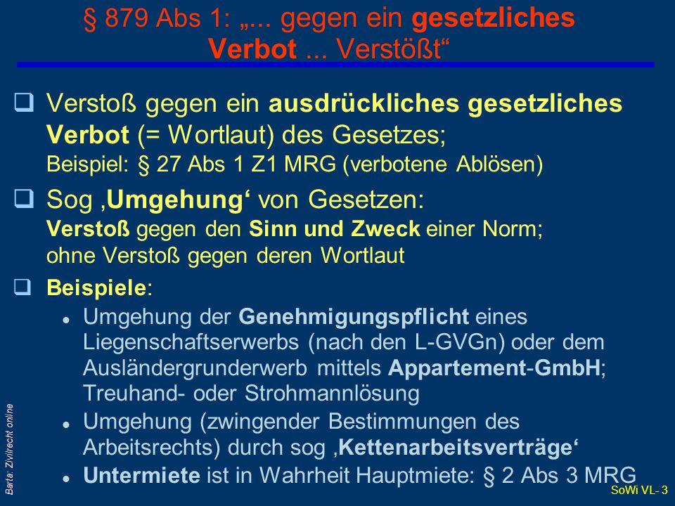 SoWi VL- 2 Barta: Zivilrecht online Verstoß gegen § 879 ABGB: Rechtsfolgen qAbsolute Nichtigkeit l Jedermann kann sich auf Nichtigkeit berufen l Kann