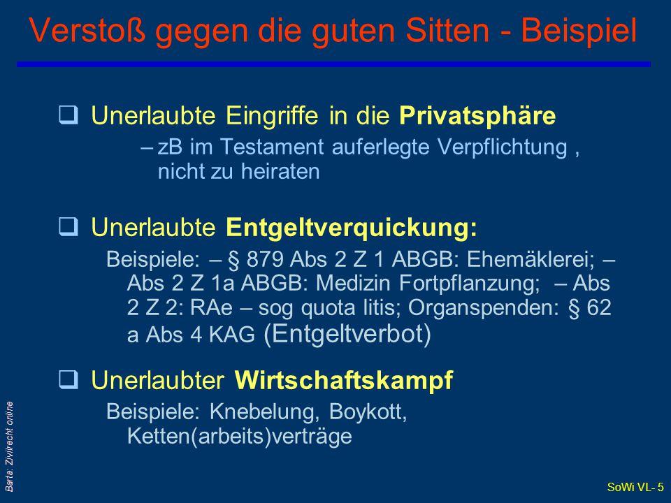 SoWi VL- 4 Barta: Zivilrecht online § 879 Abs 1: