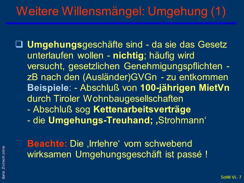 SoWi VL- 6 Barta: Zivilrecht online Sittenwidrigkeit Rechtswidrigkeitszwiebel: Rechtsmissbrauch Schikane- verbot Sittenwidrigkeit (§ 879 ABGB): Allgem