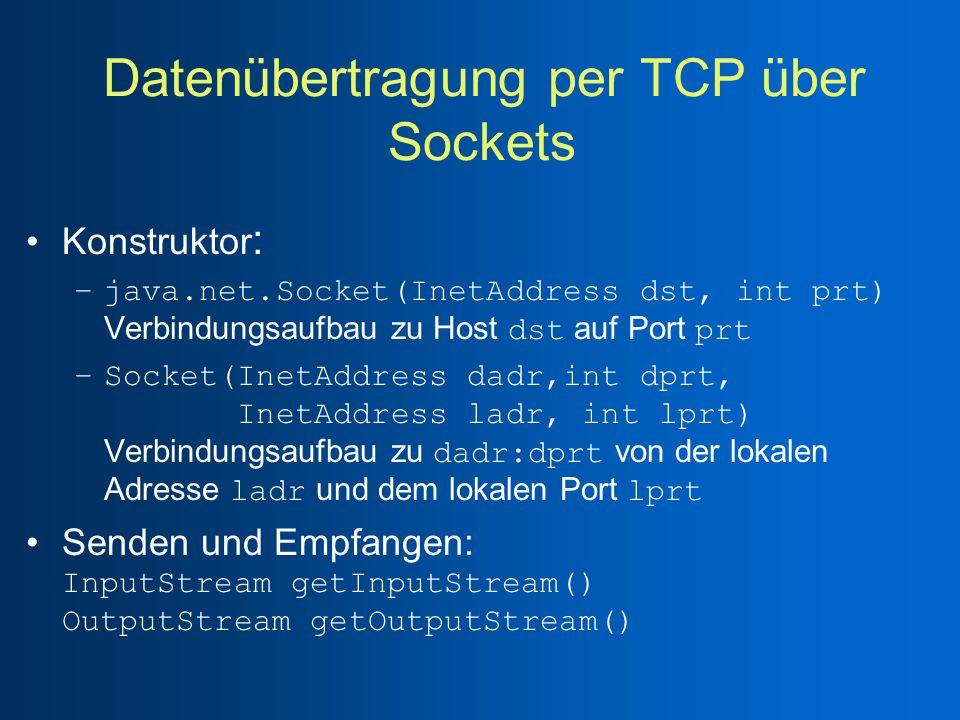 Datenübertragung per TCP über Sockets Konstruktor : –java.net.Socket(InetAddress dst, int prt) Verbindungsaufbau zu Host dst auf Port prt –Socket(InetAddress dadr,int dprt, InetAddress ladr, int lprt) Verbindungsaufbau zu dadr:dprt von der lokalen Adresse ladr und dem lokalen Port lprt Senden und Empfangen: InputStream getInputStream() OutputStream getOutputStream()