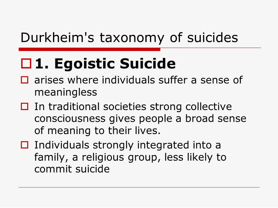 Durkheim's taxonomy of suicides  1. Egoistic Suicide.