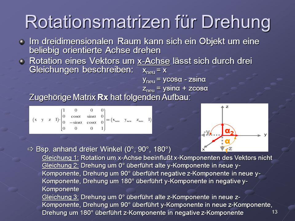 13 Rotationsmatrizen für Drehung Im dreidimensionalen Raum kann sich ein Objekt um eine beliebig orientierte Achse drehen Rotation eines Vektors um x-