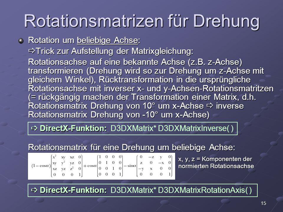 15 Rotationsmatrizen für Drehung Rotation um beliebige Achse:  Trick zur Aufstellung der Matrixgleichung: Rotationsachse auf eine bekannte Achse (z.B