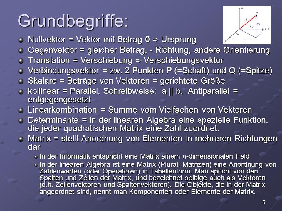5 Grundbegriffe: Nullvektor = Vektor mit Betrag 0  Ursprung Gegenvektor = gleicher Betrag, - Richtung, andere Orientierung Translation = Verschiebung