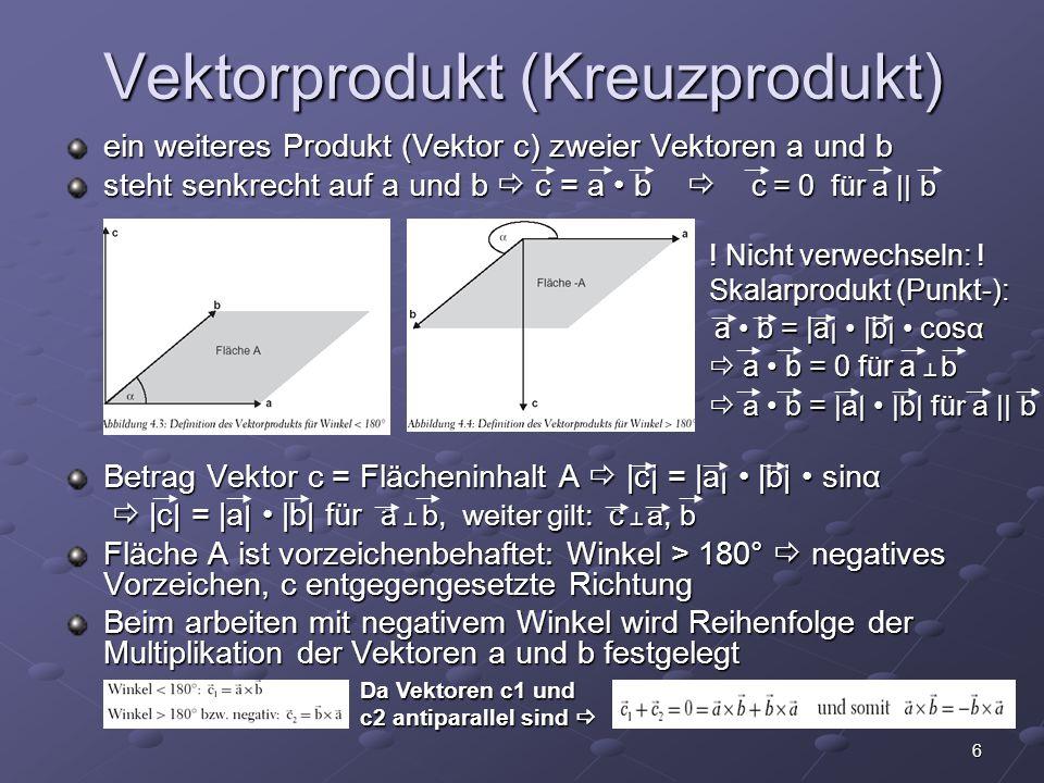 6 Vektorprodukt (Kreuzprodukt) ein weiteres Produkt (Vektor c) zweier Vektoren a und b steht senkrecht auf a und b  c = a b  c = 0 für a || b ! Nich