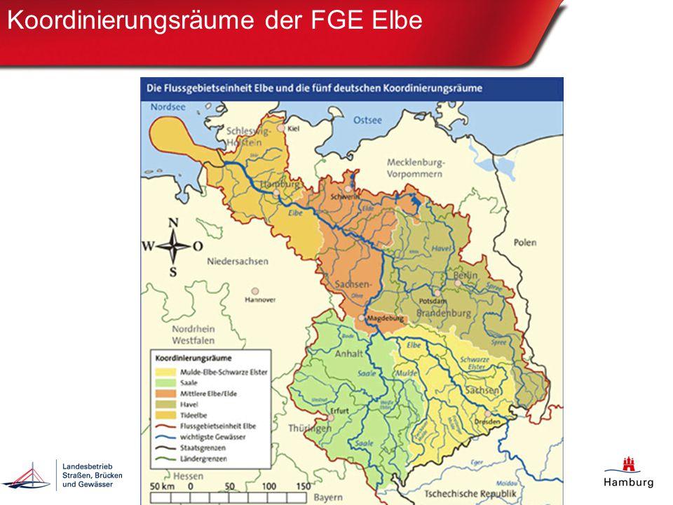 Zuständige Institutionen EU-Kom berichtet an EU-Kommission (A Bericht = Flussgebietseinheit) IKSE berichtet über das System WISE an die Internationale Kommission zum Schutz der Elbe (IKSE) BMU Zusammenschluss von 10 Bundesländern, gegründet zur Umsetzung der Wasserrahmenrichtlinie (WRRL), AG HWRM RL, FGG Elbe berichtet an BMU FGG Elbe berichten über das Portal Wasserblick an Flussgebietsgemeinschaft (FGG) Elbe Bearbeitungsebene 1:5000, Berichtsebene: 1:250.000 BSU & LSBG