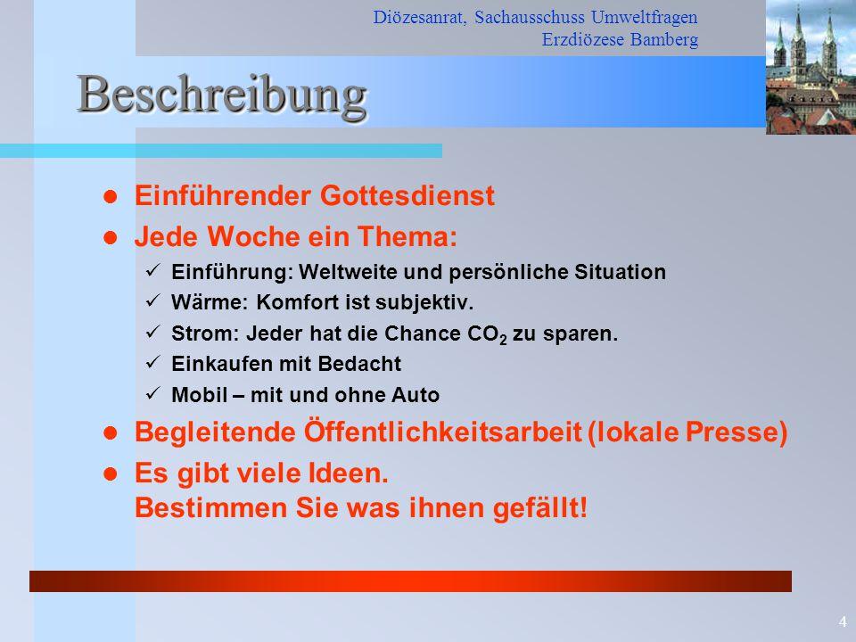 Diözesanrat, Sachausschuss Umweltfragen Erzdiözese Bamberg 4 BeschreibungBeschreibung Einführender Gottesdienst Jede Woche ein Thema: Einführung: Welt