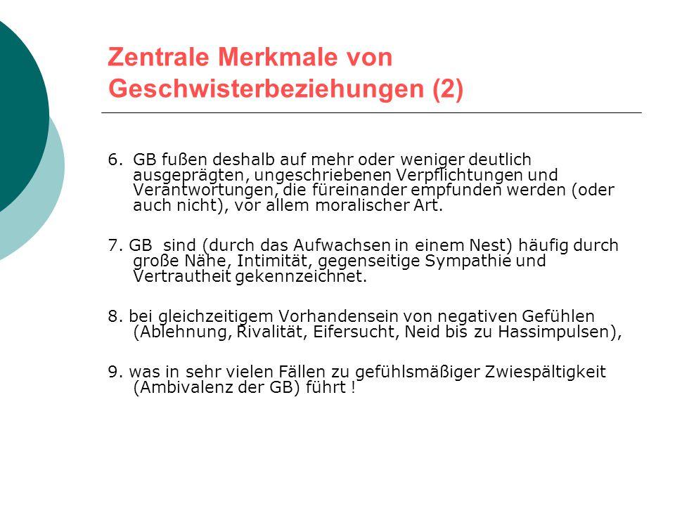 Zentrale Merkmale von Geschwisterbeziehungen (GB) 1.GB werden faktisch immer seltener - im Durchschnitt werden in Deutschland nur noch ungefähr 1,35 K