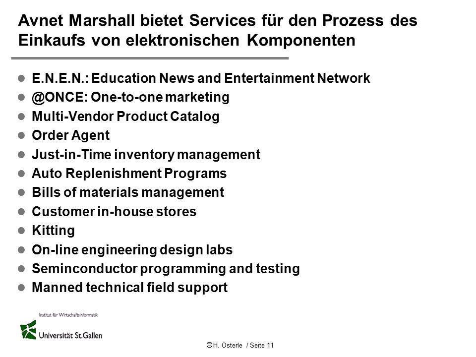  H. Österle / Seite 11 Avnet Marshall bietet Services für den Prozess des Einkaufs von elektronischen Komponenten l E.N.E.N.: Education News and Ente