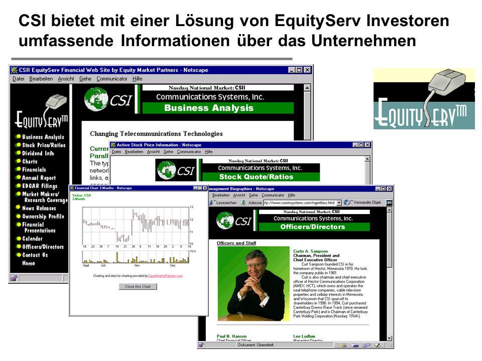  H. Österle / Seite 47 CSI bietet mit einer Lösung von EquityServ Investoren umfassende Informationen über das Unternehmen