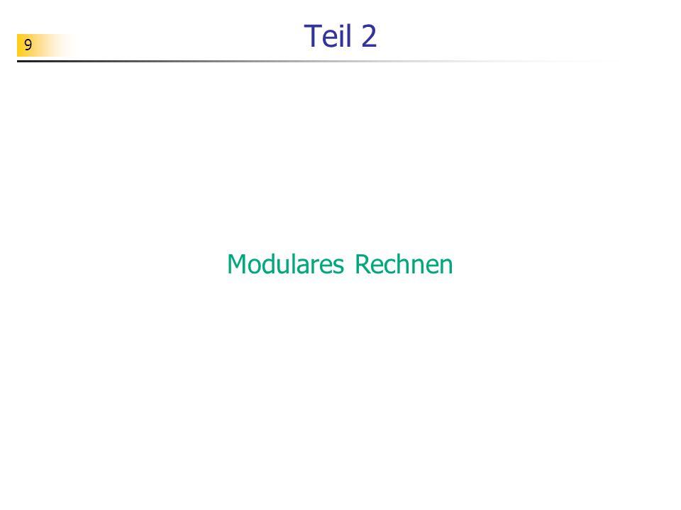 70 Implementierung Beim Rechnen mit Potenzen erhält man große Zahlen: >>> 52 ** 37 3105444088679819357273546406651335246066988648897330641813635072 >>> 3105444088679819357273546406651335246066988648897330641813635072 % 77 24 Zum schnellen modularen Potenzieren sollte man daher die folgende Funktion modpot benutzen.