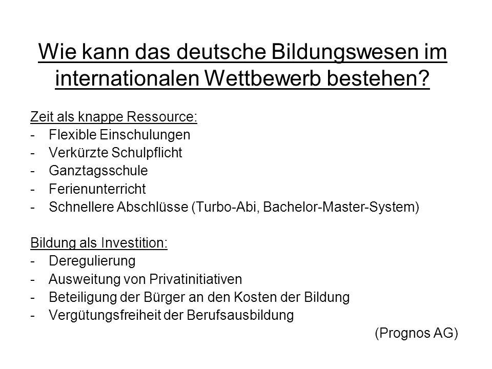 Wie kann das deutsche Bildungswesen im internationalen Wettbewerb bestehen? Zeit als knappe Ressource: -Flexible Einschulungen -Verkürzte Schulpflicht