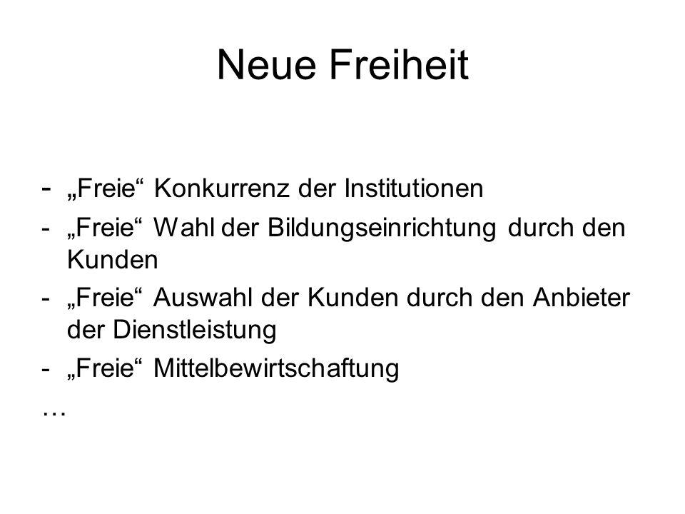 """Neue Freiheit -"""" Freie"""" Konkurrenz der Institutionen -""""Freie"""" Wahl der Bildungseinrichtung durch den Kunden -""""Freie"""" Auswahl der Kunden durch den Anbi"""