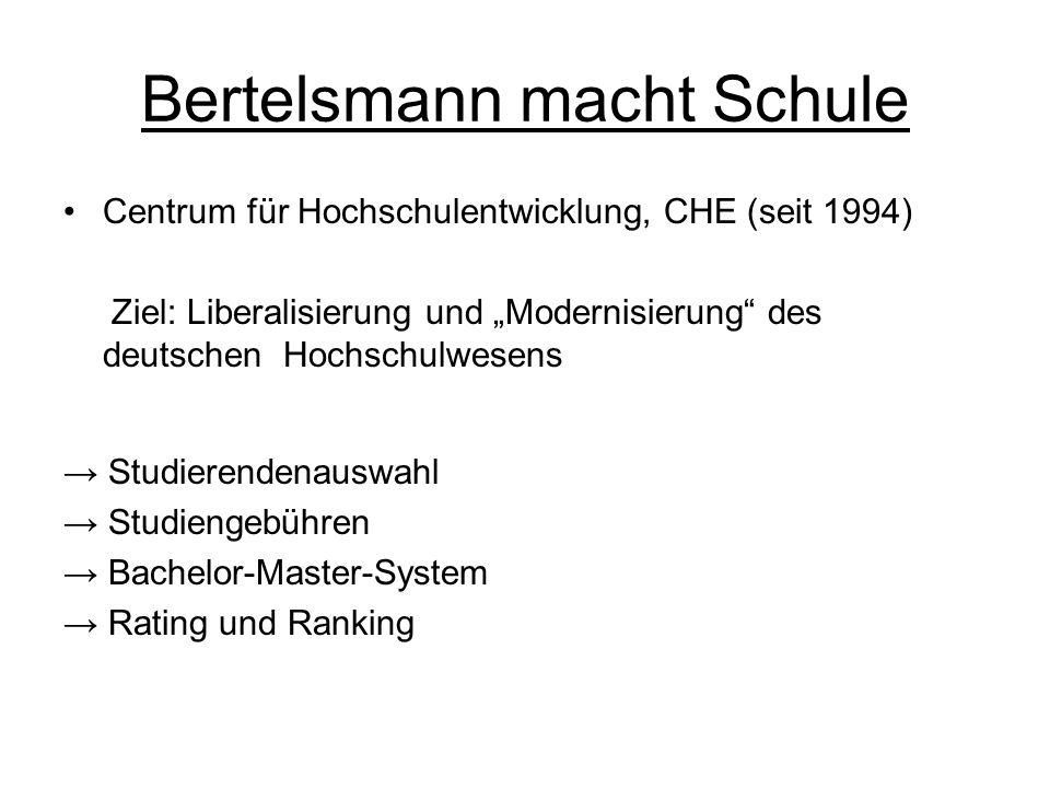 """Bertelsmann macht Schule Centrum für Hochschulentwicklung, CHE (seit 1994) Ziel: Liberalisierung und """"Modernisierung"""" des deutschen Hochschulwesens →"""